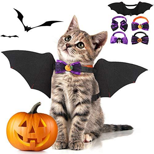 Fansport 5 Pcs Halloween Ropa para Mascotas,Alas De Murciélago para Mascotas para Perros y Gato con 4 Collares Bowtie para Halloween Pets Party Ropa De Cosplay
