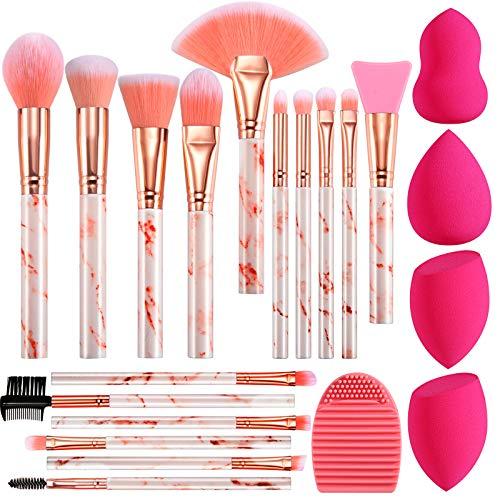 Pinselset Makeup FILY DUAIU 16-teiliges Make up Pinsel Set Rosa Schminkpinsel Set Enthält Lidschattenpinsel Foundation Pinsel mit Make up Schwamm und Bürste Wash Synthetische Haar Kosmetik Pinselsets