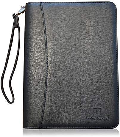 Lautus Designs Junior Zippered Business Padfolio Matt Black PU Leather Portfolio Binder Organizer product image