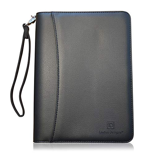 Junior Zippered Padfolio with A5 Notepad - Matt Black PU Leather Business...