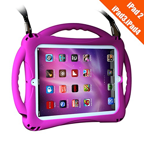 TopEsct iPad 2 Case for Kids,Shockproof Silicone Handle Stand Case Cover for Apple iPad 2nd Generation,iPad 3rd Generation and iPad 4th Generation(iPad 2nd/3rd/4th, Purple)