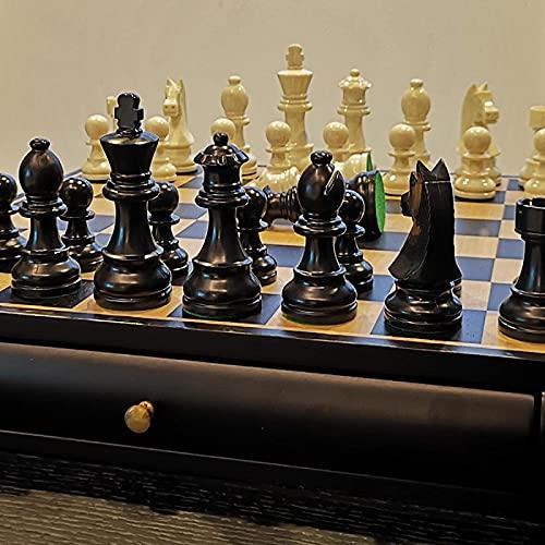 Conjuntos de ajedrez de Madera para Adultos, Juego de ajedrez de Madera Tallado a Mano, Juegos de Mesa magnética artesanales de Lujo, para Adultos Juego de ajedrez Juego de Mesa de Torneo