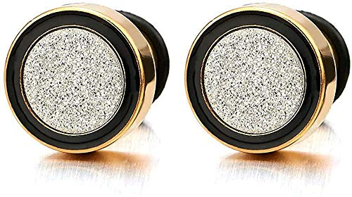 NC188 8-12MM Men Women Gold Black Stud Earring Steel Illusion Tunnel Plug with Silver Sand Glitter 2pcs-Wide:12MM