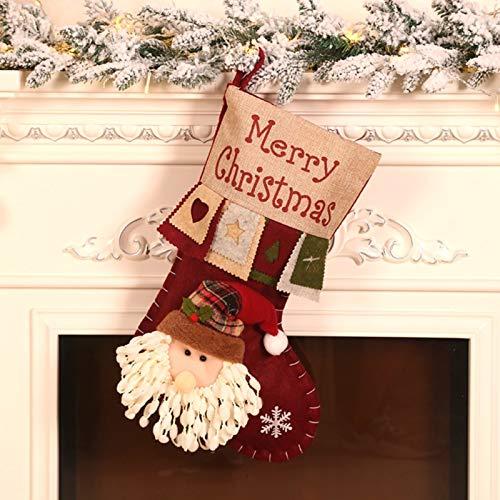 Monnadu Medias Navideñas Personalizadas Colgantes Navideños con Lindo Papá Noel Muñeco De Nieve Elk Calcetín Navideño Regalo para Niños Bolsa De Almacenamiento Decoración Navideña 1