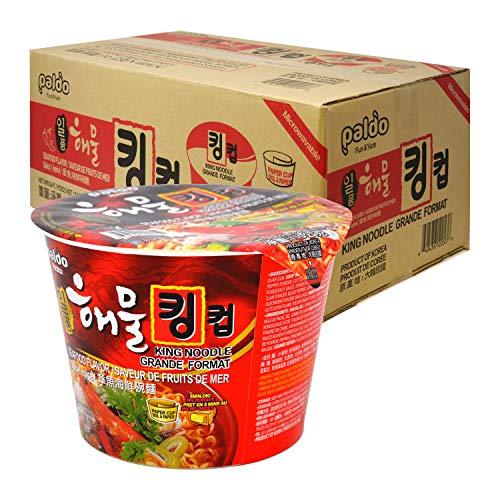 Paldo Fun & Yum Il Poom Seafood Instant Big Cup Noodles with Spicy Seafood Based Broth, Best Oriental Style, Original Korean Ramyun, K-Food, 일품 해물라면 킹 컵 110g (3.88 oz) x 16 Pack