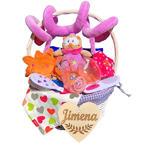 Canastilla bebé recién nacido niña modelo Verano, con corazón personalizado de regalo, espiral de felpa, cepillo y peine, bandana, pañales Dodot y toallitas, chupete y porta chupetes.