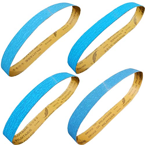 Tonmp 2 x 42 Inch Metal Grinding Zirconia Sanding Belts - One Each of 40 80 100 and 120 Grits - Blue Regalite Resin Bond Cloth Sanding Belt,4 pack (2 X 42 inch)