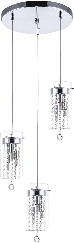 SHENGYADI 3 Light Glass & Crystal Multi Light Pendant Cylindrical Kitchen Island Lights with Round Base Modern Dining Room Lighting Fixtures Hanging, Chrome Finish