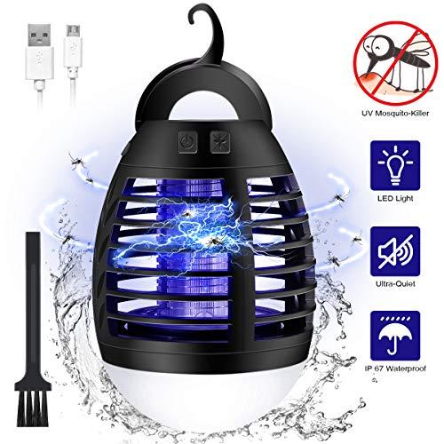 Elfeland UV Insektenvernichter Elektrisch, Campinglampe Zeltlampe, Mosquito Killer IP67 Wasserdicht Insektenlampe, 3 in 1 Mückenfalle Bug Zapper Insektenfalle USB Mückenlampe für Innen und Außen