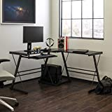 Walker Edison Furniture Company Modern Corner L Shaped Glass Computer Writing Gaming Gamer Command Center Workstation Desk Home Office, Single, Black