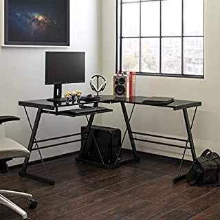 Walker Edison Furniture Company Modern Corner L Shaped Glass Computer Writing Gaming Gamer Command Center Workstation Desk Home Office, Single, Black (B001FB5LE8) | Amazon price tracker / tracking, Amazon price history charts, Amazon price watches, Amazon price drop alerts