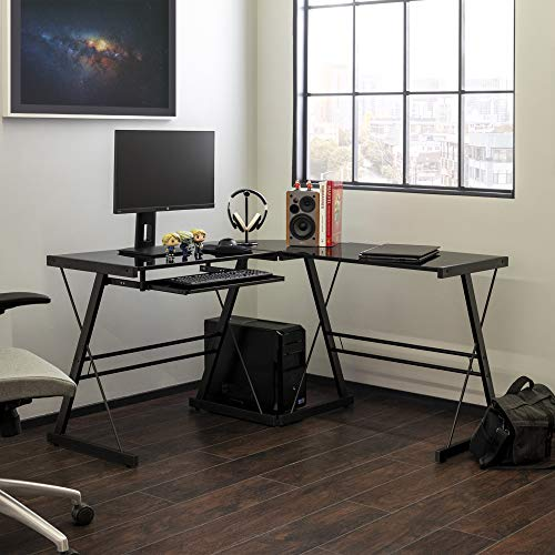 Walker Edison Furniture Company Modern Corner L Shaped Glass Computer Writing Gaming Gamer Command Center Workstation Desk Home Office 51 Inch Black