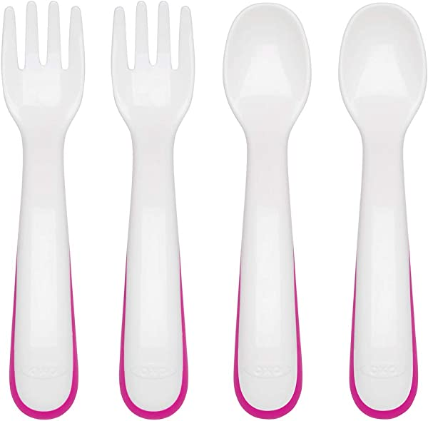 OXO Tot Fork And Spoon Training Set Pink
