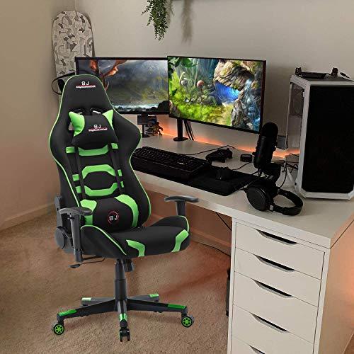 Gharpbik Gaming Stuhl Bürostuhl Schreibtischstuhl mit Verstellbaren Armlehnen und Wippfunktion Gamer Stuhl Drehstuhl Höhenverstellbarer Gaming Sessel PC Stuhl Ergonomisches Chefsessel (Grün)