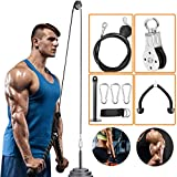 Riiai Fitness LAT and Lift Pulley System,Cable Machine with Detachable Rowing Handle and Triceps Pull Down Rope for Triceps Pull Down, Biceps Curl, Back, Forearm, Shoulder,Rotating Straight Bar