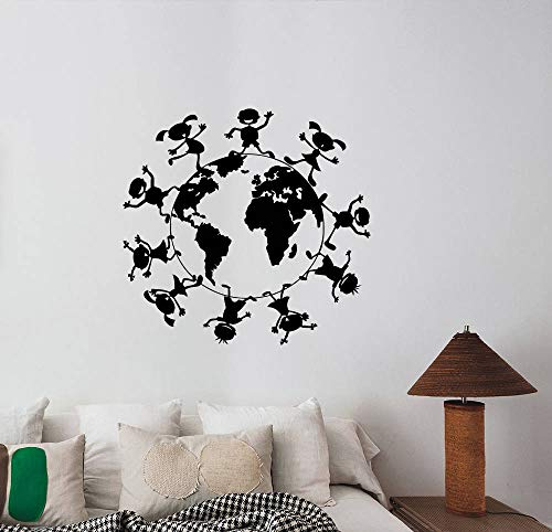Planet Earth Kids Wall Vinyl Decal World Globe Vinyl Sticker Geography Art Best Ecology Sign Decorations for Home Room Bedroom Classroom Decor Made in USA Fast Delivery