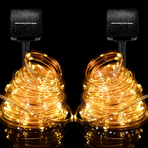 KNXOO Solar Rope Lights Outdoor Waterproof 100 LED 33ft 8 Modes Copper Wire PVC Tube Solar Christmas Lights for Hall Patio Yard Garden Trees Wedding Party (2 Pack Warm White)