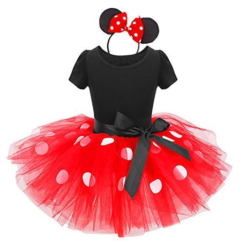 Disfraz de princesa para niña, vestido de tutú de lunares con diadema y nudo de mariposa, traje para ceremonia de cumpleaños, 12 meses a 6 años 02 Rouge 12-18 Meses