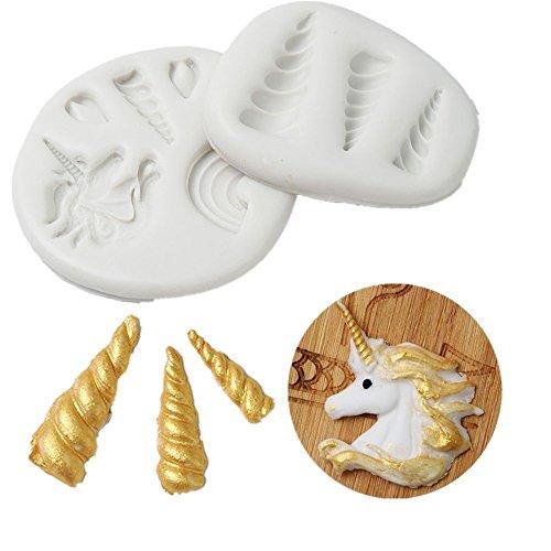 FOVIUPET - Molde de silicona para fondant o tartas, diseño de unicornio en 3D, para...