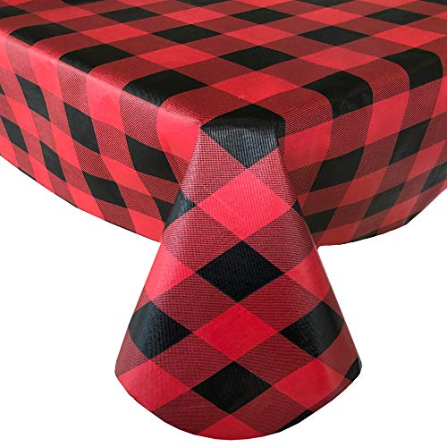 Newbridge Holiday Red and Black Buffalo Plaid Christmas Print Vinyl Flannel Backed Tablecloth, Country Rustic Red Black Cottage Check Xmas Wipe Clean Tablecloth, 60 Inch x 84 Inch Oblong/Rectangle