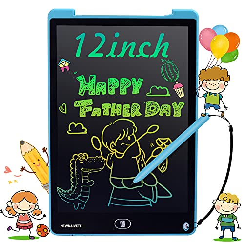 Newnaivete LCD Writing Tablet, 12 inch Colorful Screen Doodle Board, Erasable Electronic Drawing Tablet Writing Pads, Educational Toys Gifts for Age 3 4 5 6 7 8 Years Old Girls Boys Kids Toddlers