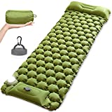 Self Inflating Sleeping Pad for Camping with LED Light Lantern, MOUNTDOG Built-in Foot Pump Ultralight Inflatable Waterproof Air Mattress for Backpacking, Camp, Hiking, Travel, Tent(Yellow)