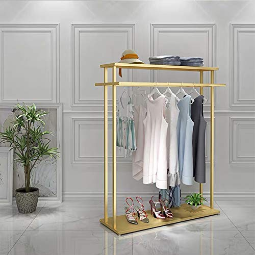 MDEPYCO Clothing Store Rolling Garment Rack with WheelCommercial Grade Nakajima Clothes Display RackFloor-Standing Double Hanging Rods Hangers Clothes Shelves Gold with Metal Plate  472 L