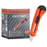 KINGMAX Utility Knife,12-Pack Retractable Box Cutter for Cartons, Cardboard and Boxes,18mm Wider Razor Sharp Blade,Safely Lock Design,Perfect for Office,Arts Crafts and Home use