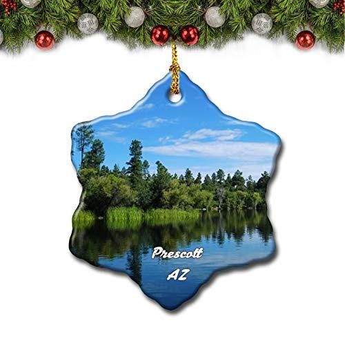 Umsufa Prescott Lake Arizona USA Christmas Tree Ornament Travel Gift Souvenir 3 Inch Porcelain Double Side