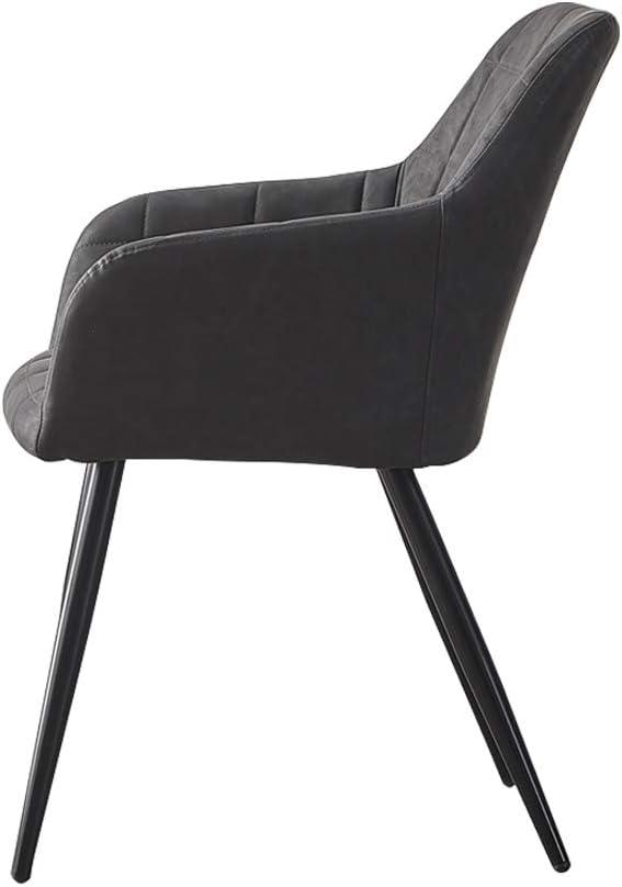 OFCASA Lot de 2 chaises de salle à manger en simili cuir avec pieds chromés Gris Foncé