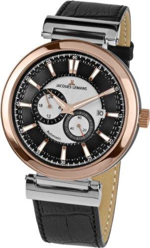 Jacques Lemans Herren Analog Automatik Uhr mit Leder Armband 1-1730B