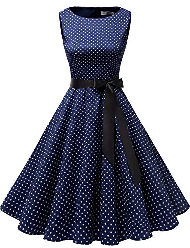 Gardenwed Damen 1950er Vintage Cocktailkleid Rockabilly Retro Schwingen Kleid Faltenrock Navy Small White Dot M