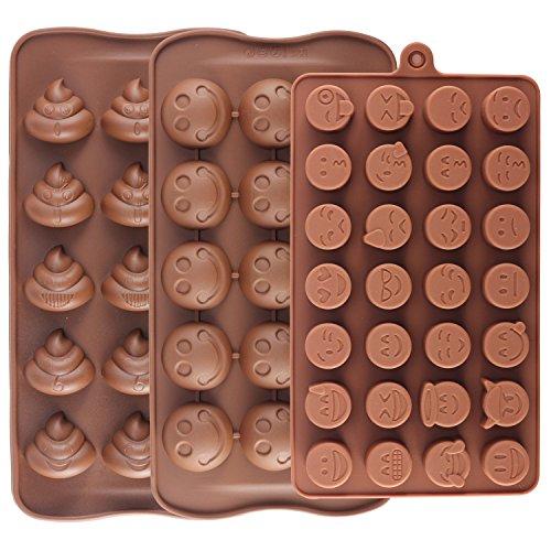 Mujiang Backformen mit Emoji-Design, Emoticon, Kuchenformen, 28 Mulden, Smiley, Silikon, Süßigkeiten, Schokolade, 3 Stück