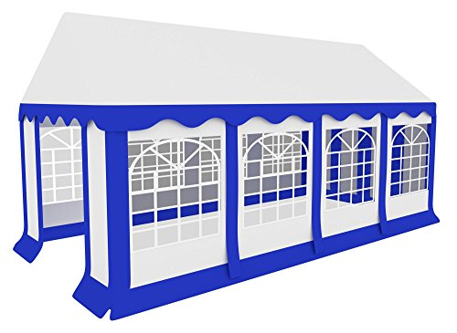 Stagecaptain Bavaria 4x8m Partyzelt (ca. 50 Personen/ca. 6 Biergartenganituren, Robustes, windstabiles Gestänge, fixierbarer Eingang mit Reißverschlüssen, Kantenschutz) weiß-blau