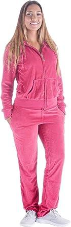 LeeHanTon Jogging Sweat Suits for Women 2 Piece Outfits Velvet Tracksuit Sets Velour Zip Hoodie Sweatshirt & Sweatpants Sweatsuits