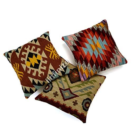 iinfinize Moroccan Halloween Pillow Cover Throw Handmade Cushion Cover Shaggy Vintage Pillow Cover Maternity Pillow Cover Ethnic Hippie Cushion Cover (Multicolor)