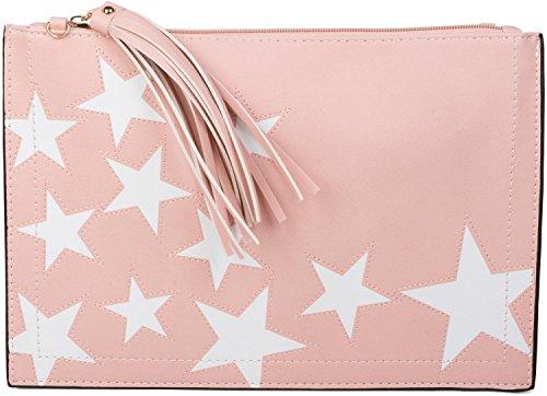 styleBREAKER Clutch mit Sterne Muster, Quasten Anhänger am Reißverschluss, Handschlaufe und Umhängegurt, Damen 02012075, Farbe:Rosa