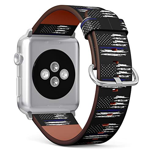 S-Type iWatch Leather Strap Printing Replacement Wristbands Compatible with Apple Watch 4/3/2/1 Sport Series (38mm) - Grunge Blue line Flag of United States