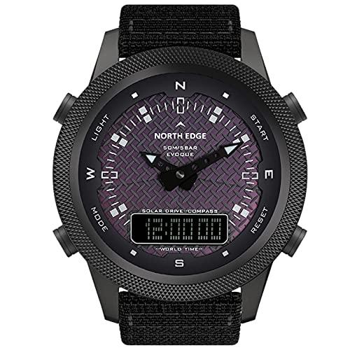 Relojes Deportivos para Hombre Reloj Solar Digital Impermeable 50m Reloj Inteligente Carga Solar Puntero Digital para Caminatas wwimming o Cualquier Deporte al Aire Libre