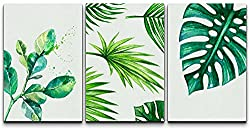 "wall26 - Green Tropical Leaves - Canvas Art Wall Art - 24""x36""x3 Panels"