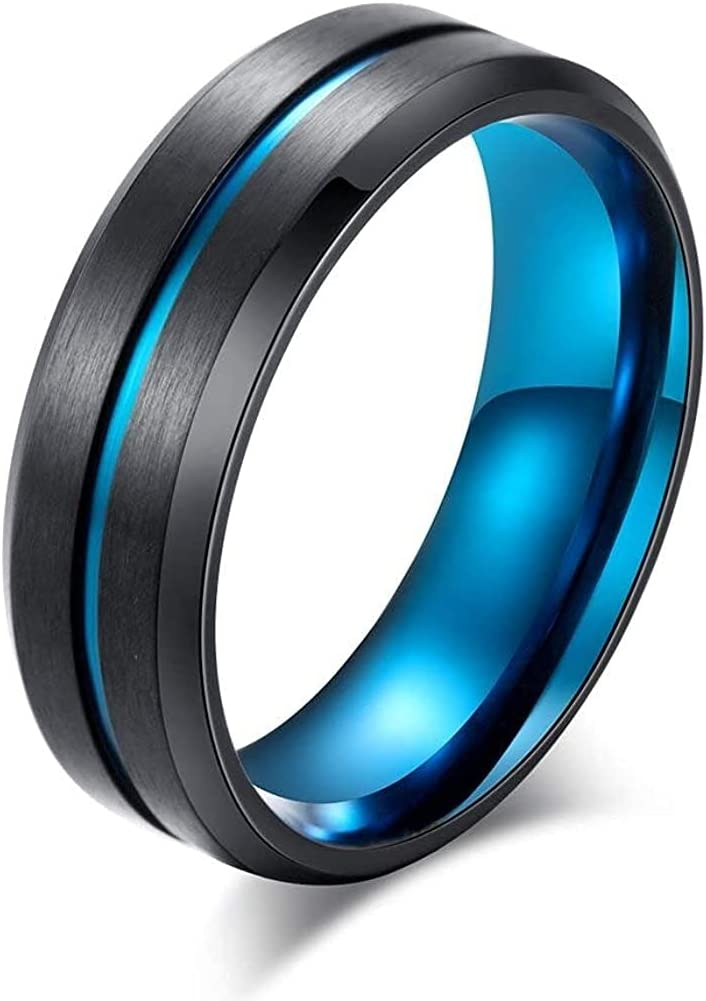 Large special price !! Max 68% OFF SOEPMDM Rings 8MM Men's Wedding Band Thin Grooved Line Matt Ring