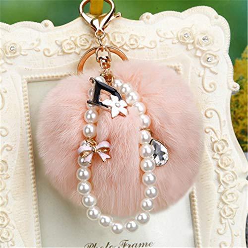 Llaveros Crystal Flowers Key Chain Fluffy Keychain 8Cm Blue Pompon Key Ring Llaveros Bolsa Accesorios Pom Pom Korea Pink