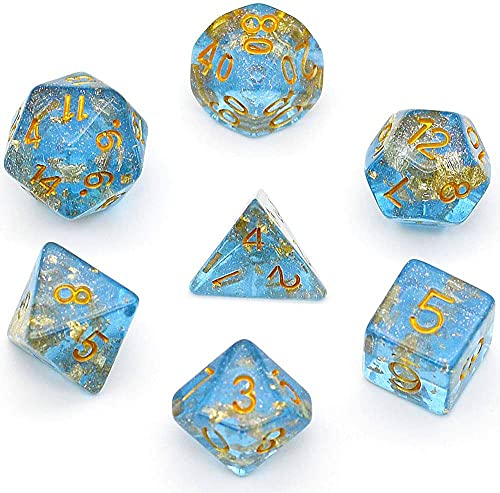 UDIXI Polyhedral DND Dice Sets Shimmer Gold Foil Dice for Dungeons and Dragons Pathfinder RPG MTG Table Gaming Dice - Blue