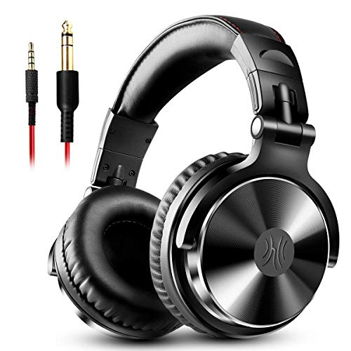 OneOdio Adapter-Free Closed Back Over-Ear DJ Stereo Monitor Headphones, Professional Studio Monitor and Mixing, Telescopic Arms with Scale, Newest 50mm Neodymium Drivers -Black