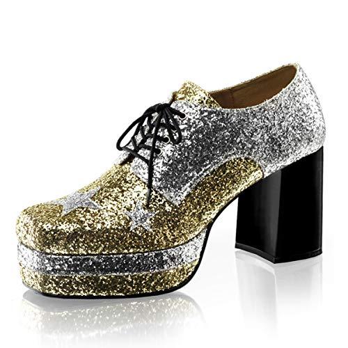 Higher-Heels Funtasma Herren Plateauschuhe Glamrock-02 Silber/Gold 42,5