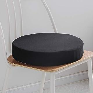 Lesong Cojín acolchado suave y grueso, cojín redondo para silla de bistro, funda extraíble para cocina, jardín, comedor, patio, color negro, 50 x 50 cm