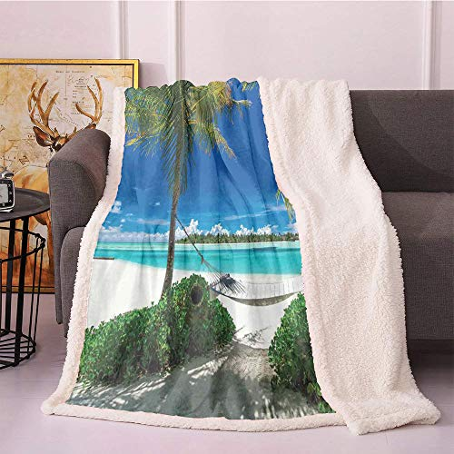 Beach Fleece Blanket,Hammock and Palm Trees at a Tropical Beach Scenic Coastline Sunny Summer Flannel Bed Blankets,car Plush Blanket(40'X50' inches,Blue Aqua and Green)
