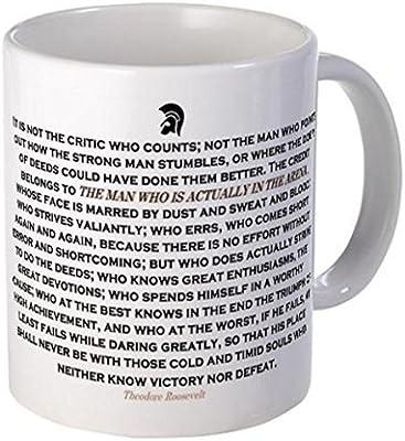 11 ounce Mug - Man in the Arena Mugs - S White by Coffee Mug