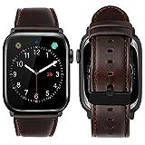iBazal Compatible con iWatch Series 6 SE 5 4 Correa 44mm 42mm Cuero Piel Genuino Pulseras Brazaletes Bandas Reemplazo Series 3 2 1 Hombres Mujeres Reloj Inteligente - Café