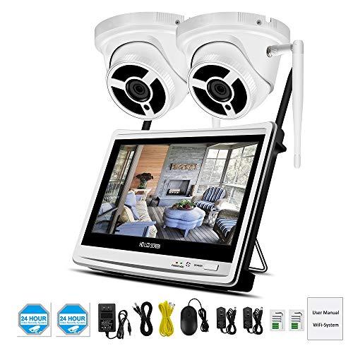 HERAHQ WiFi met scherm 1080p HD-bewakingscamera, 2 miljoen pixels infrarood nachtzicht bewegingsdetectie en andere functies